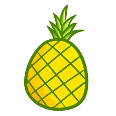 Funny and cute yellow fresh pineapple - vector.