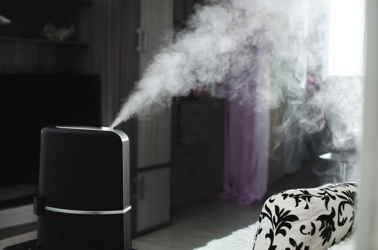 The steam from the humidifier in the night
