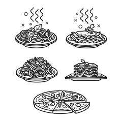 Italian cuisine, vector outline icons