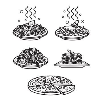 Italian cuisine, vector outline icons