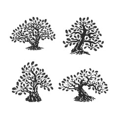 Huge and sacred oak tree silhouette logo isolated on white background