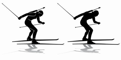 silhouette of a biathlon skier , vector draw