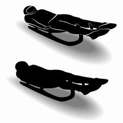 silhouette rider on sled , vector draw