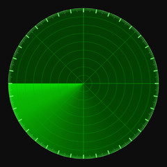 Green radar screen, circular 360 degree scale, vector template active scanning radar sonar