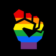 Raised fist with colors of LGBT flag - fight and protest for homosexuality and homosexual rights. Power and strength of lesbian, gay and transgender during protest for liberty and tolerance