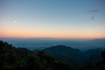 Mountain scenery in evening. Photo taken from Doi Ang Khang, Chiang Mai, Thailand