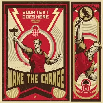 Poster Revolution. Propaganda Background Style.