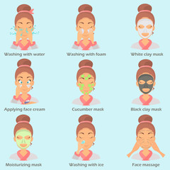 Face care color flat icons set for web and mobile design