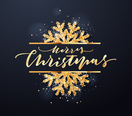 Christmas Party Golden design template with snowflakes