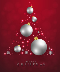 Merry Christmas,New year card and glitter decoration. Black and gold background with  christmas balls.Vector illustration.