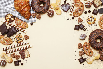 Mix of sweets: cookies, chocolates and pralines