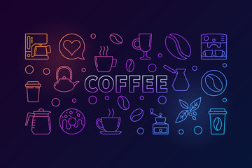 Coffee horizontal colored illustration. Vector concept banner