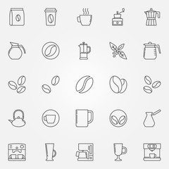 Coffee icons set - vector symbols in thin line style