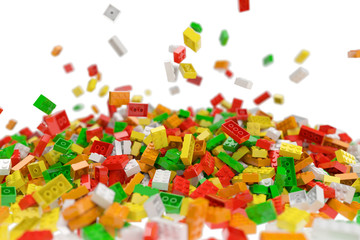 Pile of colored toy bricks isolated on white background. 3D illustration