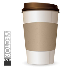 A large cardboard glass with coffee with an empty space for the logo. Light cup brown lid.