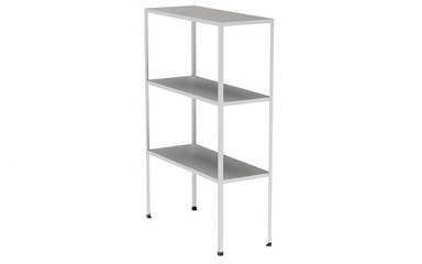 Metal industrial storage shelves isolated on white. 3d illustration