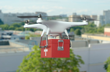 White Quadrocopter Drone with first aid kit in flight on cityscape background. 3D illustration