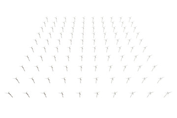 Wind Turbines isolated on white background. 3D illustration
