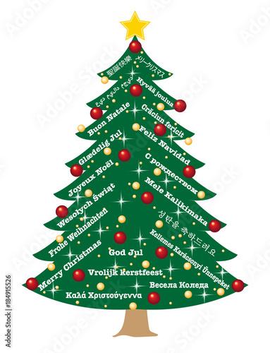 weihnachtsbaum mit weihnachtsgr e in 20 sprachen. Black Bedroom Furniture Sets. Home Design Ideas