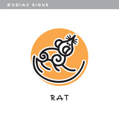 Rat - vector icon. Logo, zodiac sign, symbol of Chinese astrological calendar.