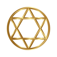 Golden seal of Solomon, star of David. Vector six-pointed star.