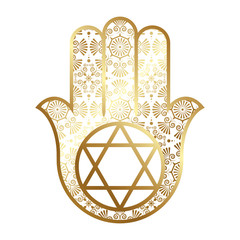 Ornate Gold Hamsa with the seal of Solomon.  Vector illustration.