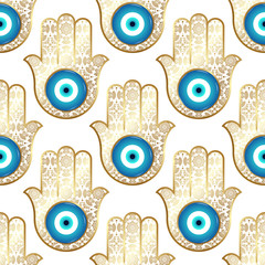 Background with ornate  hamsa, obereg against the evil eye and spoilage.