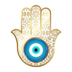 Ornate hamsa, Gold amulet against the evil eye and spoilage. Vector.