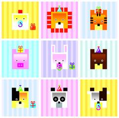 cute animals icon vector