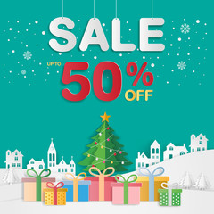 Christmas sale background for banner, poster, brochure, flyer, voucher discount, invitation card, backdrop and template design. Paper art style.
