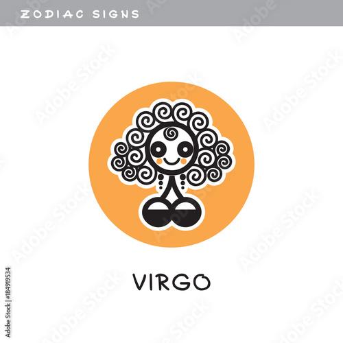 Girl Virgo Vector Icon Logo Zodiac Sign Symbol Of Astrological