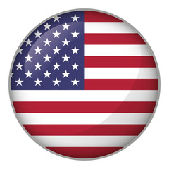 Icon representing round button USA flag. Ideal for catalogs of institutional materials and geography