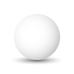 White sphere, ball or orb. 3D vector object with dropped shadow on white background.