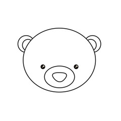 Bear face drawing. Bear draw. Coloring pages for kids. Vector stock.