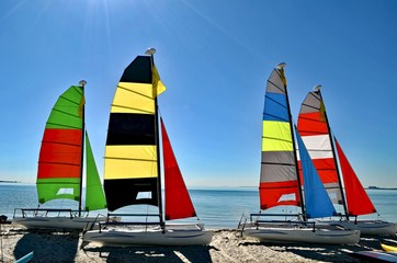 Small sailing catamarans resting in the sand on a beach on Key Biscayne ,Florida