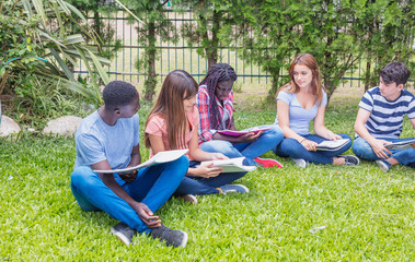 Group of multi ethnic teenagers classroom making school exercises seated on the grass
