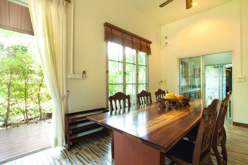 Luxury interior design in livingroom of pool villas