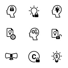 Set of simple icons on a theme Patent, vector, design, collection, flat, sign, symbol,element, object, illustration, isolated. White background