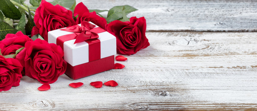 Red Roses and Gift for Valentines
