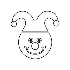 Clown face drawing. Coloring pages for kids. Vector stock.