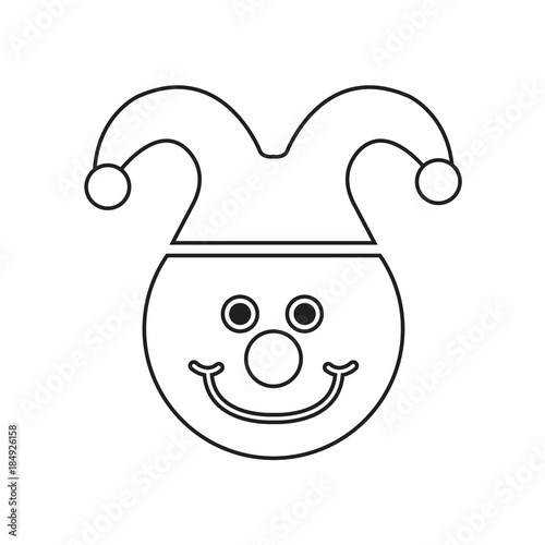 Awesome Clown Face Drawing. Coloring Pages For Kids. Vector Stock.