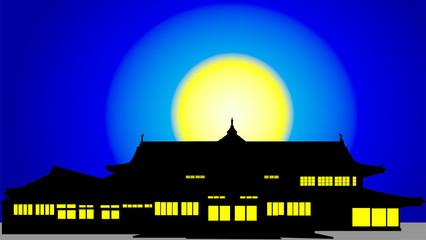 田舎の満月旅館のシルエット
