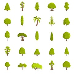 Tree icons set. Flat illustration of 25 tree vector icons isolated on white background