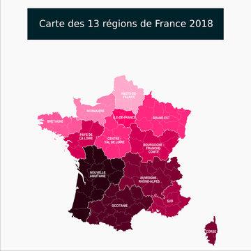Nouveau : région Sud - Carte des 13 régions de France avec le nom des régions et chef lieux de région Un tracé autonome par région / département