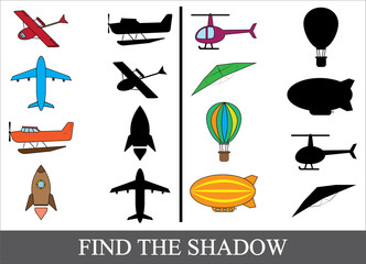 Education game for children. Find the correct shadow. Set of cartoon air transport.