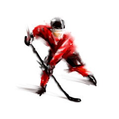 Digital color sketch of a hockey player