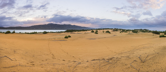 Panorama of the sand dunes in Issos Corfu Greece.