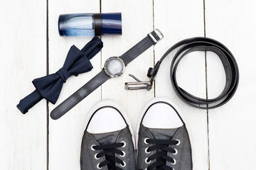 Shoes and accessories for mens. Flat lay