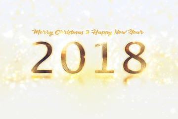Happy New Year Banner with 2018 Numbers on Bright Background.