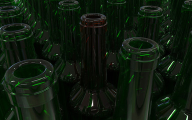 empty bottles for wine green and one brown